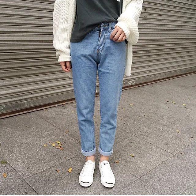 (暫售)淺色復古高腰牛仔褲