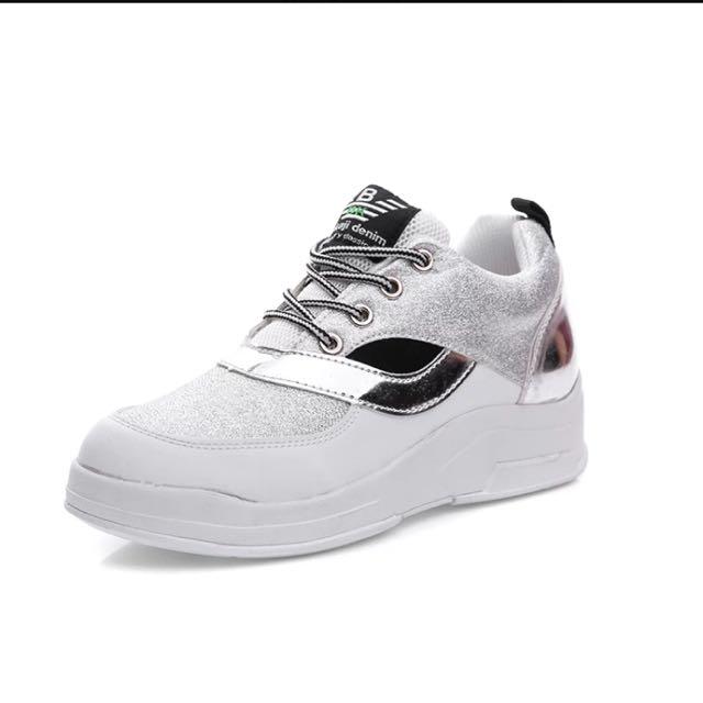 韓國賣到翻🔺厚底增高拼接銀球鞋🔺 黑/灰