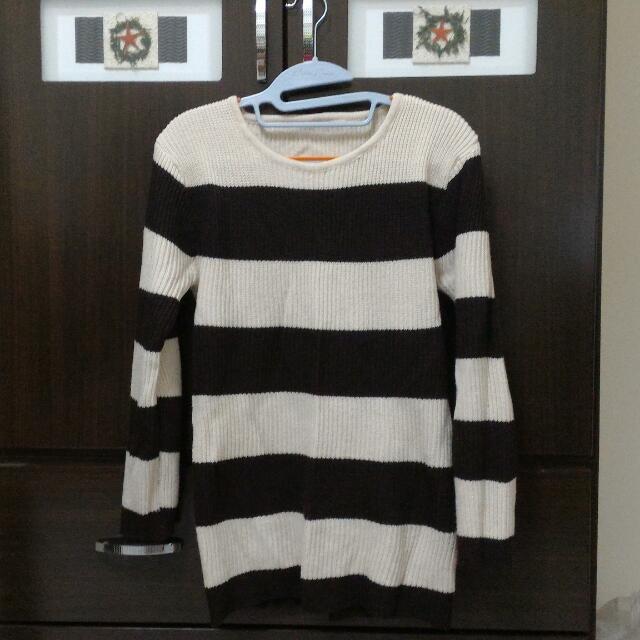 (降價)米色 咖啡色 條紋毛衣