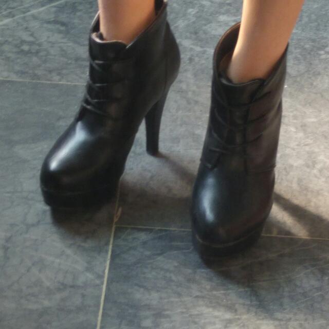 性感黑-溫暖(內刷毛) 顯瘦 高跟 踝靴