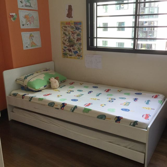 Child Single Bed Frame With Pull Out