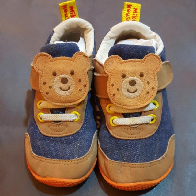 日本正品MIKI HOUSE 雀斑熊休閒鞋/學步鞋15CM