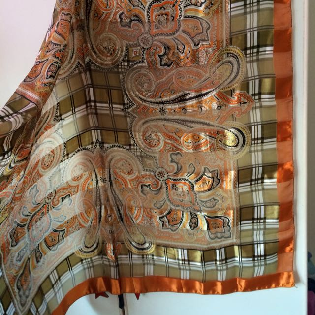 *SALE* Orange Moss Green Patterned Satin Silk Square Scarf from Phuket