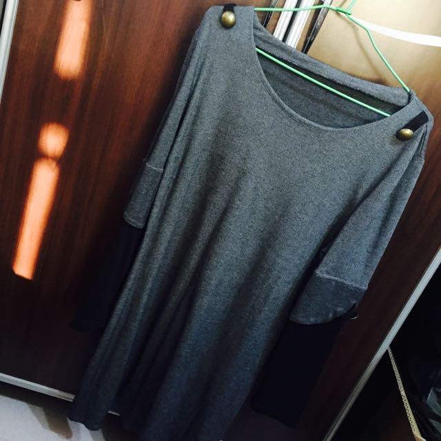 長袖長版上衣/洋裝/T