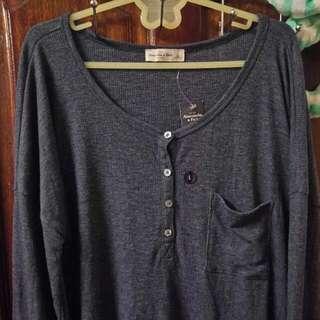 全新冬款Abercrombie & Fitch A&f 藍色螺紋針織衫