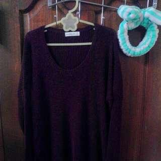 全新冬季新款Abercrombie & Fitch 酒紅色針織毛衣