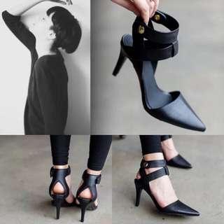 Avance有實穿照黑尖頭綁帶簍空高跟鞋尖頭歐美街拍日韓帥氣復古尖頭細跟皮帶