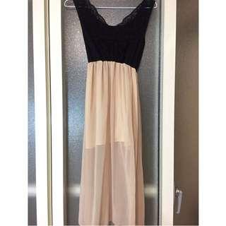 蕾絲美背薄紗長裙