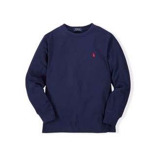 【Moose】A&F AF RL Ralph Lauren大馬 青年款 素面 LOGO 長Tee 全新正品 深藍色 現貨