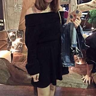 一字領針織黑洋裝(附綁帶)