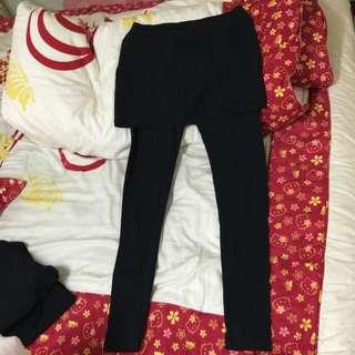 ✨Lativ 黑色磨毛窄裙內搭褲✔️九成新✔️L號