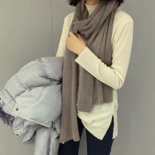 保暖純色披肩圍巾(淺灰/深灰)