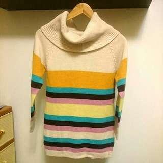 🚚 (免運)彩色翻領長版毛衣