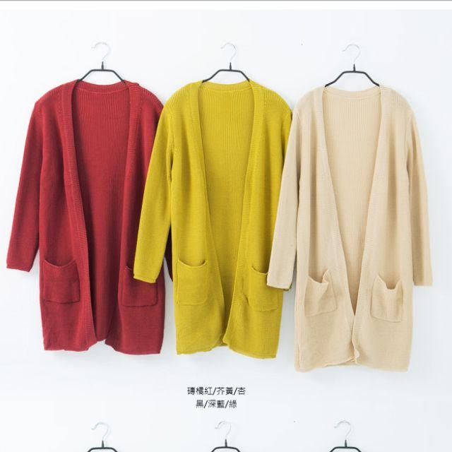韓系-秋冬飽和色口袋開襟長版針織外套