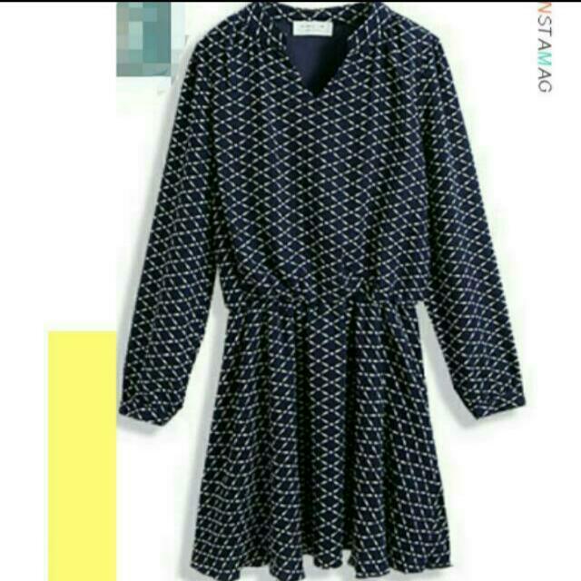 深藍格紋雪紡洋裝