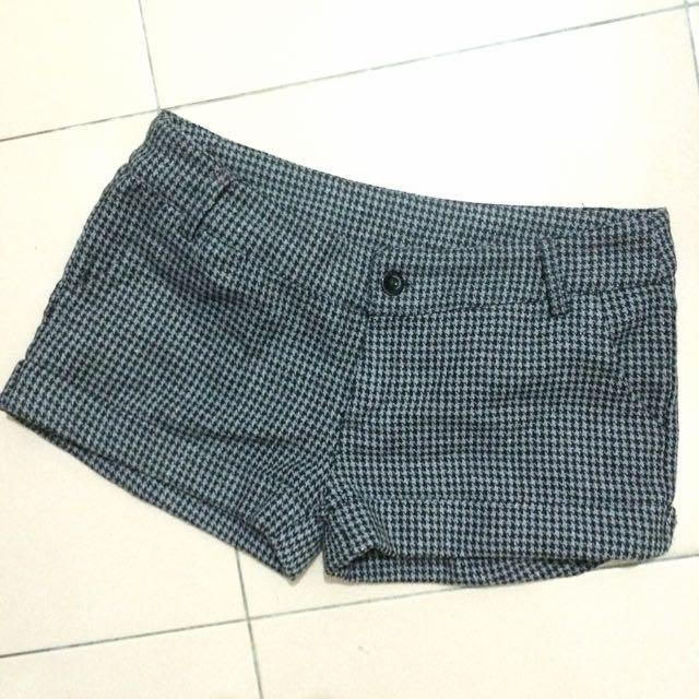 全新灰色千鳥格紋毛呢反折短褲