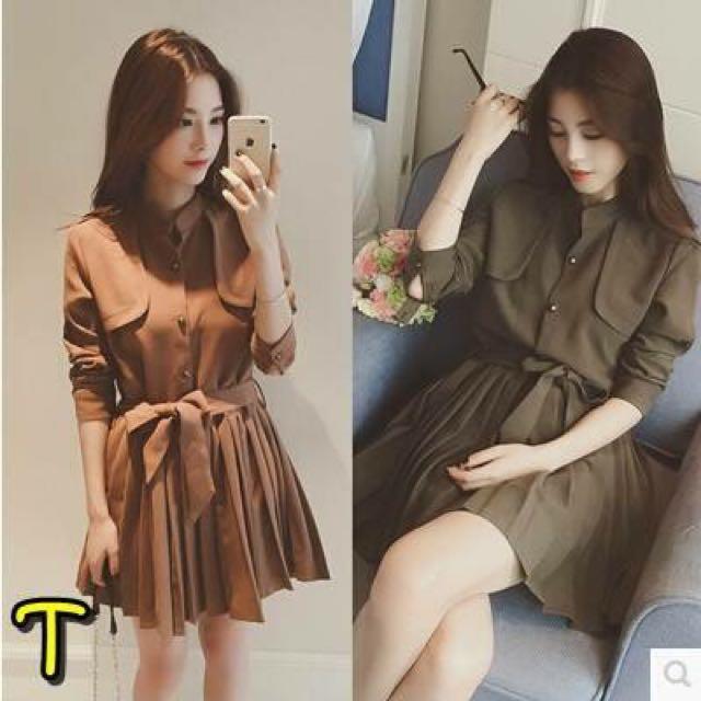 全新韓系綁帶洋裝(咖啡)