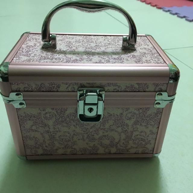 粉紅色亮粉 小型化妝盒/珠寶盒
