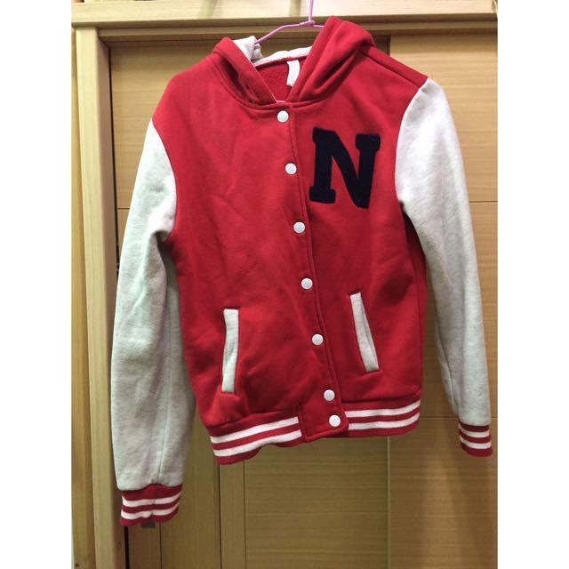 韓版 紅色 棒球外套