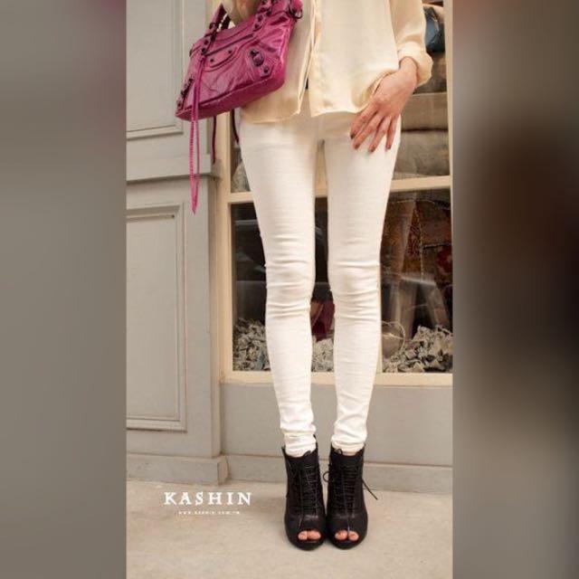 正韓貨 彈性細身色褲 白色