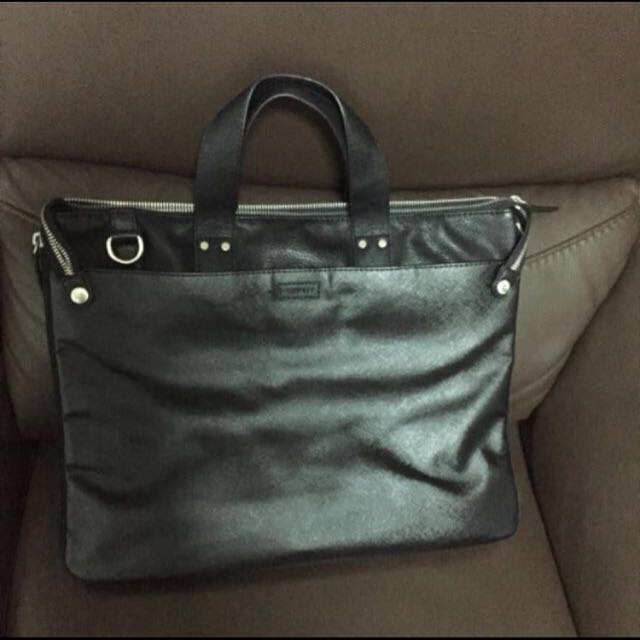 Esprit Leather Messenger Bag