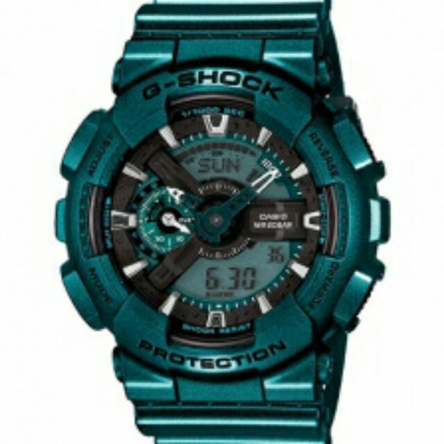 G-SHOCK  限量款  指針雙顯錶-炫金屬 綠