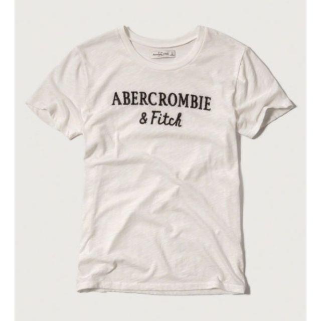 【Moose】A&F Kids HCO AF 刺繡 字母 長版 女款 短Tee 白 WHITE 全新正品 現貨