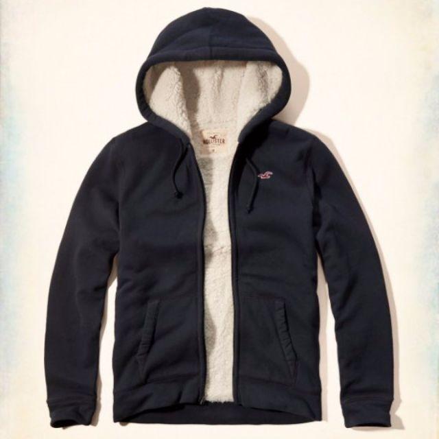 【Moose】A&F RL AFK HCO Logo 鋪棉連帽外套 熊寶寶QQ毛 深藍色 全新正品 男款 現貨