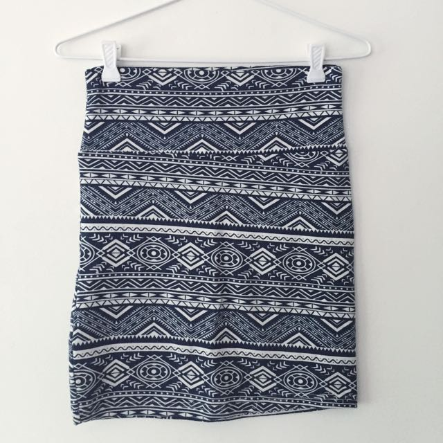Navy and White Bohemian Patterned Tight Skirt
