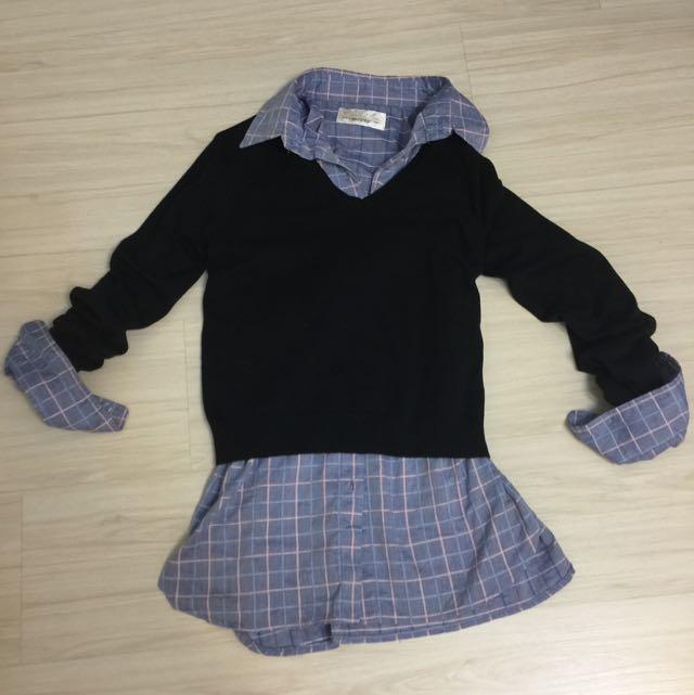 Zara黑色v領針織衫(保留待匯)