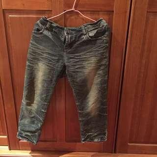 牛仔褲(七分長) L的
