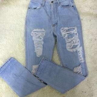 High Waist Rip Jeans