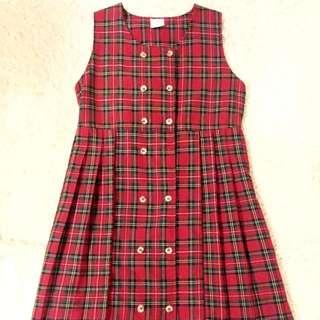 紅色格紋  連身裙/洋裝