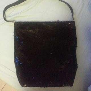 🍒 黑色亮片水桶包 🍒