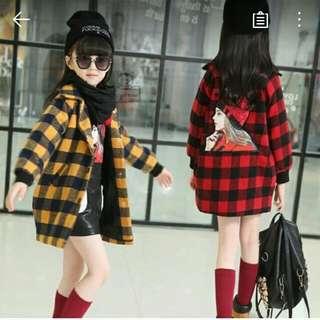 女童呢大衣外套(紅色)140