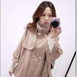 轉賣just Chia Chia 熱賣款正韓軍裝斗蓬羊毛外套
