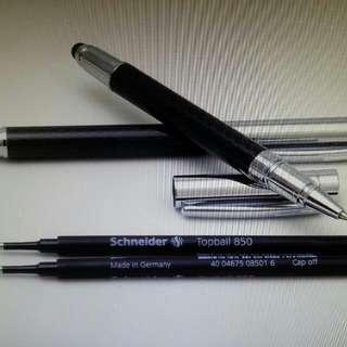 🚚 黑白高級碳纖維觸控鋼珠兩用筆