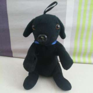 Mini plush toy black dog