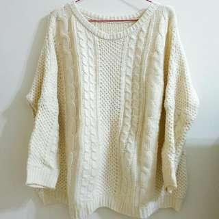 麻花紋圓領針織毛衣
