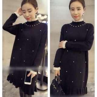 珍珠長袖氣質連身裙 $255元 材質:蕾絲+棉+珍珠 尺寸:全長77  胸圍95左右 肩寬40  袖長58