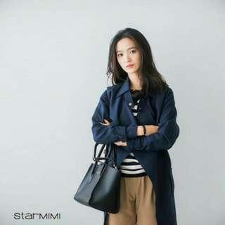 🔥【免運大推款】STARMIMI簡約綁帶風衣外套 深藍色 全新