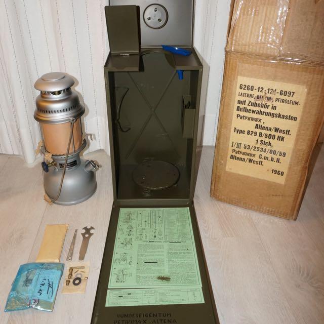 1960 製造 德國 軍用 全新汽化燈含攜行箱 Petromax 500 HK 829B 適合 露營 收藏 等