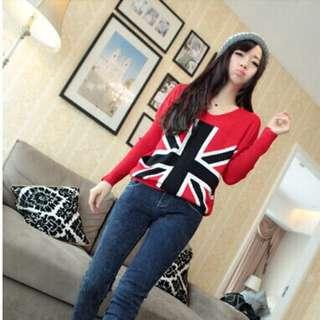 英倫旗針織毛衣(只剩下紅色) $277 材質:針織 尺寸:F  全長60  胸圍90左右 肩寬40  袖長56