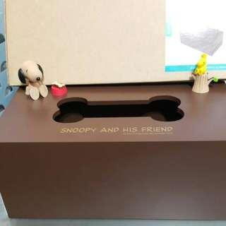 大降價~~~ 史努比 Snoopy 木質 咖啡色 面紙 衛生紙 盒 套 原價850 現550含運 上有立體的snoopy唷!