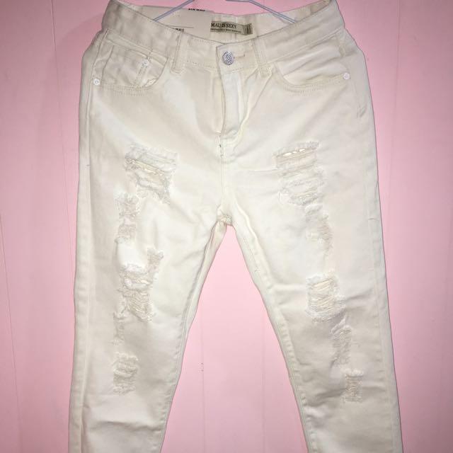 🔴牛仔白褲