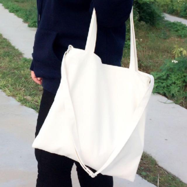 全新現貨-素色文青帆布包(白
