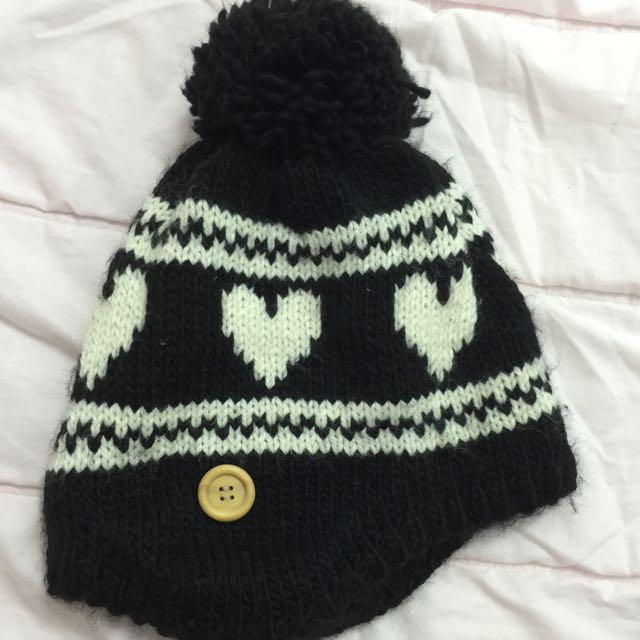 愛心針織毛帽