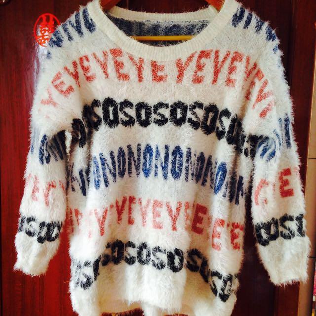 可愛字母毛衣