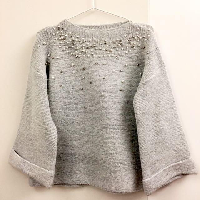 熱賣寶石珍珠氣質寬寬袖上衣