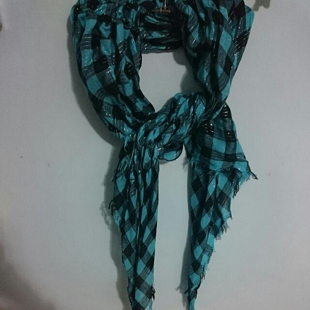 全新湖水綠格紋流蘇圍巾絲巾藍綠色